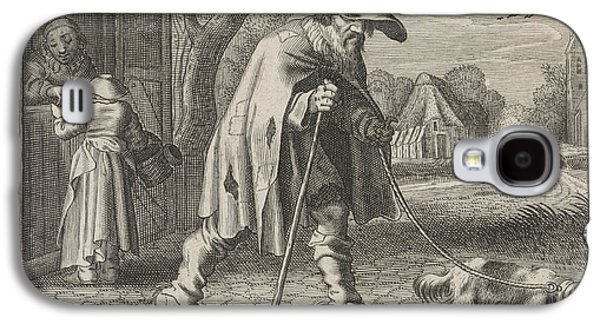 Blind Man Led By A Dog, Woman Before The Door Of Her House Galaxy S4 Case by Johann Gelle