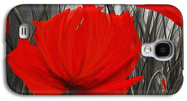 Blood-red Poppies - Red And Gray Art Galaxy S4 Case by Lourry Legarde