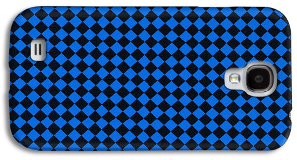 Blue And Black Checkered Pattern Cloth Background Galaxy S4 Case by Keith Webber Jr