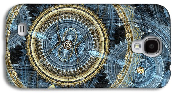 Blue And Gold Mechanical Abstract Galaxy S4 Case by Martin Capek