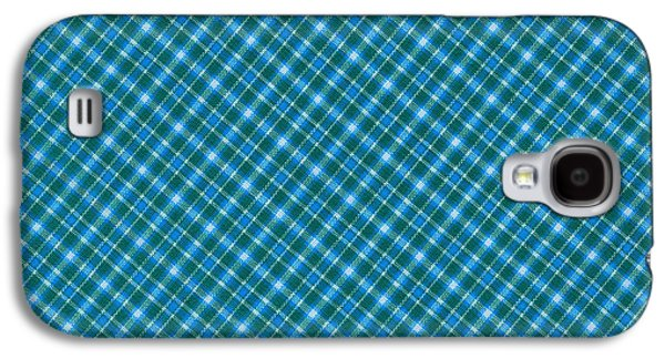 Blue And Teal Diagonal Plaid Pattern Textile Background Galaxy S4 Case by Keith Webber Jr