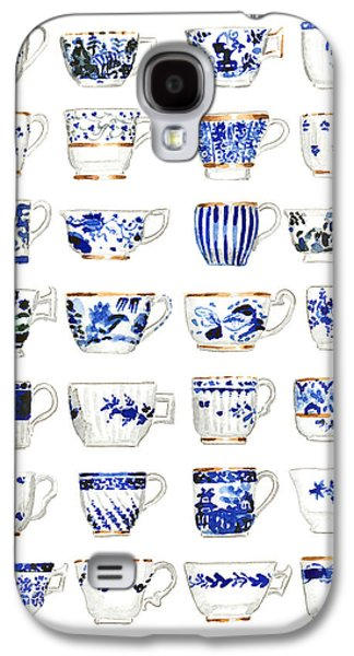 Blue And White Teacups Collage Galaxy S4 Case by Laura Row Studio