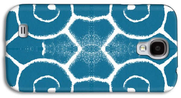 Blue And White Wave Tile- Abstract Art Galaxy S4 Case by Linda Woods
