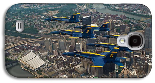 Blue Angels Over Pittsburg Galaxy S4 Case by Specialist 2nd Class Kathryn E Macdonald