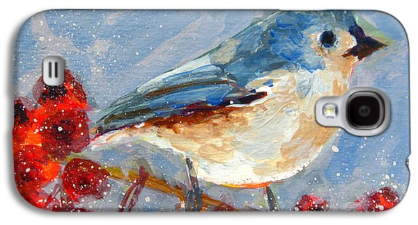 Blue Bird In Winter - Tuft Titmouse Modern Impressionist Art Galaxy S4 Case by Patricia Awapara