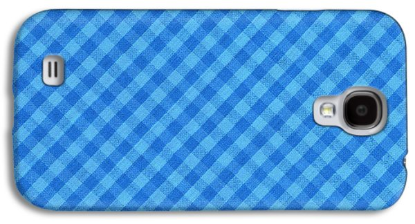 Blue Checkered Diagonal Tablecloth Cloth Background Galaxy S4 Case by Keith Webber Jr