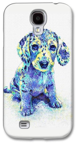 Blue Dapple Dachshund Puppy Galaxy S4 Case by Jane Schnetlage
