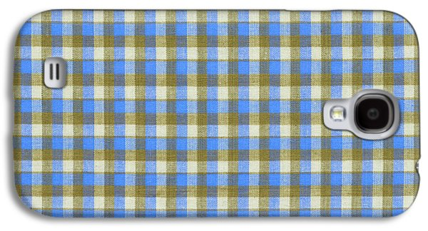 Blue Green And White Plaid Pattern Cloth Background Galaxy S4 Case by Keith Webber Jr