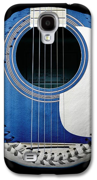 Blue Guitar Baseball White Laces Square Galaxy S4 Case by Andee Design