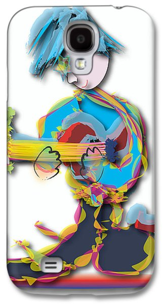 Galaxy S4 Case featuring the digital art Blue Hair Guitar Player by Marvin Blaine