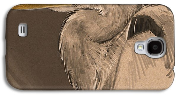 Blue Heron Sketch Galaxy S4 Case by Aaron Blaise