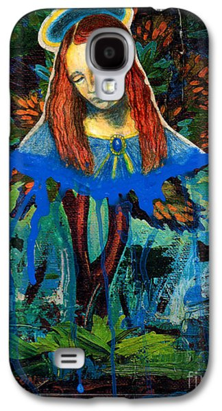 Blue Madonna In Tree Galaxy S4 Case by Genevieve Esson