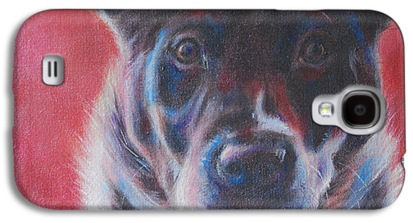 Blue Merle On Red Galaxy S4 Case by Kimberly Santini