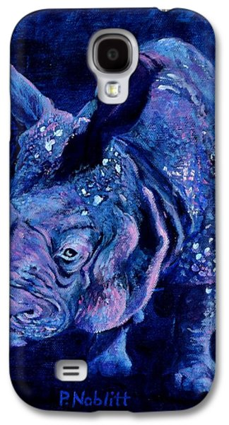 Indian Rhino - Blue Galaxy S4 Case by Paula Noblitt