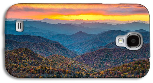 Mountain Sunset Galaxy S4 Case - Blue Ridge Parkway Fall Sunset Landscape - Autumn Glory by Dave Allen
