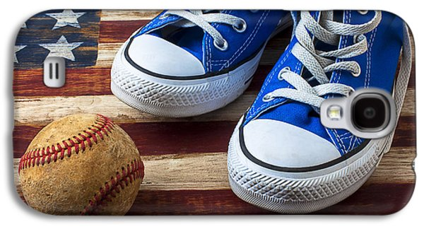 Blue Tennis Shoes And Baseball Galaxy S4 Case by Garry Gay