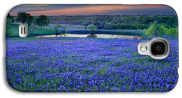 Bluebonnet Lake Vista Texas Sunset - Wildflowers Landscape Flowers Pond Galaxy S4 Case
