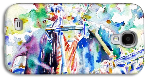 Bob Dylan Playing The Guitar - Watercolor Portrait.1 Galaxy S4 Case by Fabrizio Cassetta