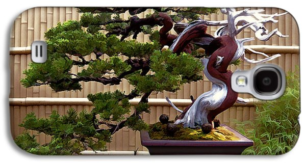 Bonsai Tree And Bamboo Fence Galaxy S4 Case by Elaine Plesser