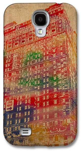 Book Cadillac Iconic Buildings Of Detroit Watercolor On Worn Canvas Series Number 3 Galaxy S4 Case