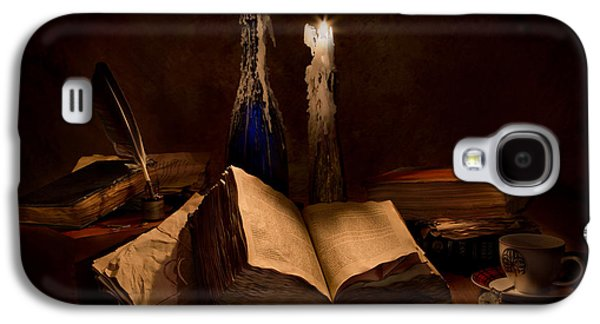 Books Candles And Coffee Cup Galaxy S4 Case by Mary Tomaino