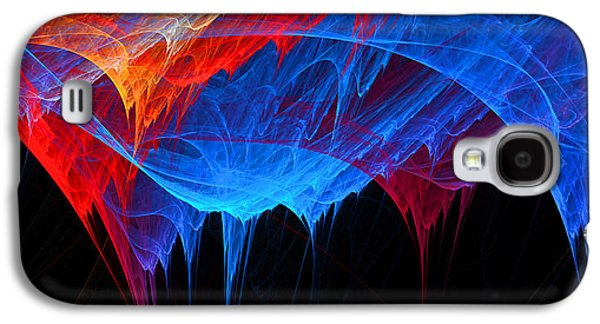 Borealis - Blue And Red Abstract Galaxy S4 Case by Lourry Legarde