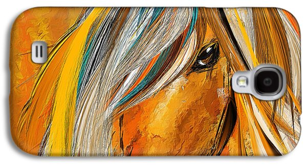 Born Free-colorful Horse Paintings - Yellow Turquoise Galaxy S4 Case