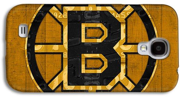 Boston Bruins Hockey Team Retro Logo Vintage Recycled Massachusetts License Plate Art Galaxy S4 Case by Design Turnpike