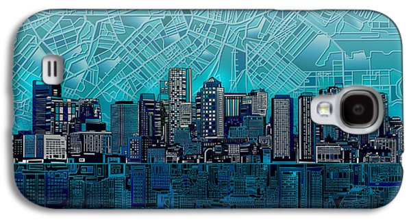 Boston Skyline Abstract Blue Galaxy S4 Case