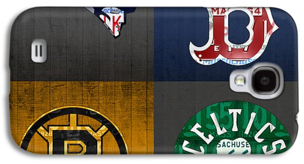 Boston Sports Fan Recycled Vintage Massachusetts License Plate Art Patriots Red Sox Bruins Celtics Galaxy S4 Case by Design Turnpike