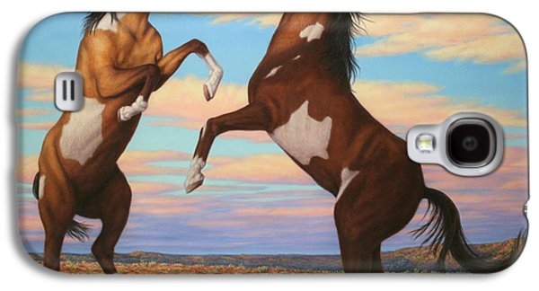 Boxing Horses Galaxy S4 Case by James W Johnson