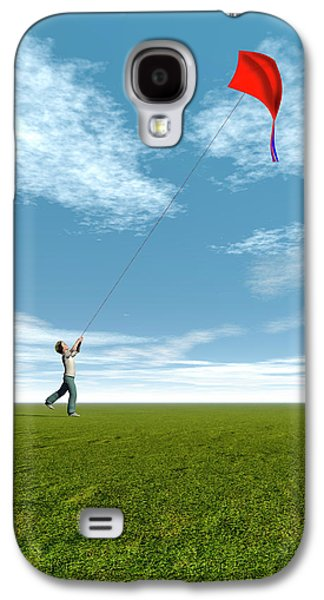 Boy Flying A Kite Galaxy S4 Case by Carol & Mike Werner