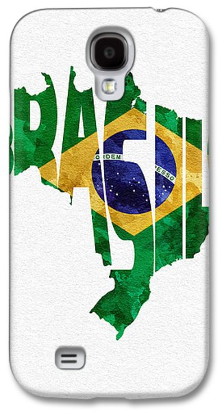 Brazil Typographic Map Flag Galaxy S4 Case