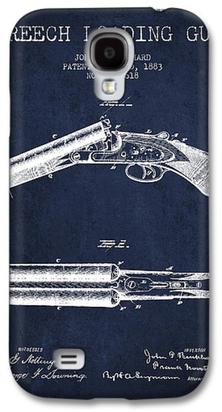 Breech Loading Gun Patent Drawing From 1883 - Navy Blue Galaxy S4 Case by Aged Pixel