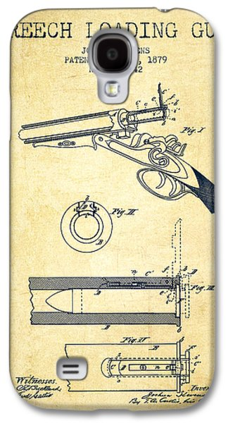 Breech Loading Shotgun Patent Drawing From 1879 - Vintage Galaxy S4 Case by Aged Pixel