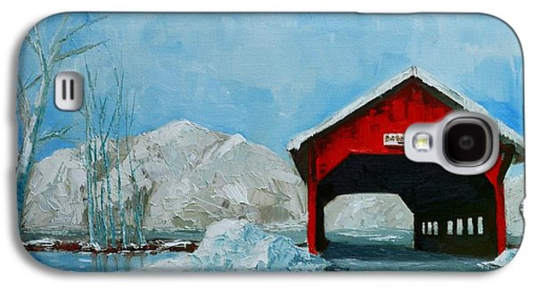 Brookdale Bridge Vermont Stowe Winter Scene Galaxy S4 Case