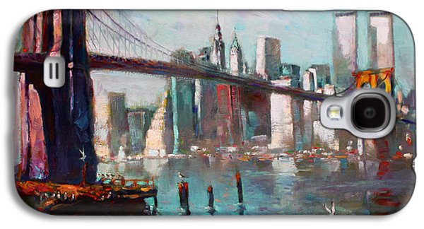Brooklyn Bridge And Twin Towers Galaxy S4 Case by Ylli Haruni
