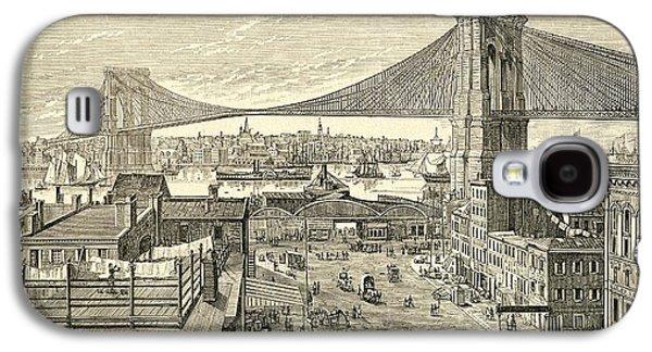 Brooklyn Bridge, New York, United States Of America In The 19th Century Galaxy S4 Case by American School