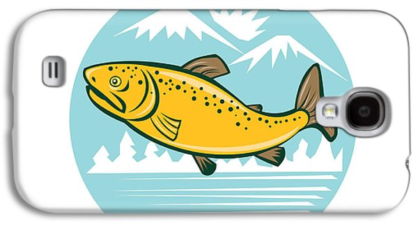 Brown Trout Jumping Circle Cartoon Galaxy S4 Case