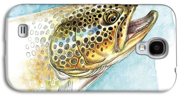 Brown Trout Study Galaxy S4 Case by JQ Licensing
