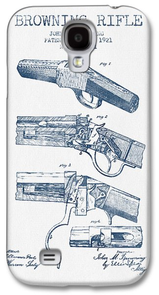 Browning Rifle Patent Drawing From 1921 -  Blue Ink Galaxy S4 Case by Aged Pixel