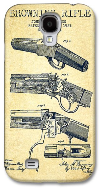 Browning Rifle Patent Drawing From 1921 - Vintage Galaxy S4 Case by Aged Pixel