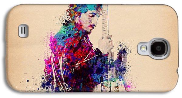 Bruce Springsteen Splats And Guitar Galaxy S4 Case by Bekim Art