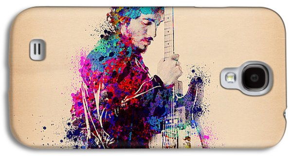 Rock And Roll Galaxy S4 Case - Bruce Springsteen Splats And Guitar by Bekim Art