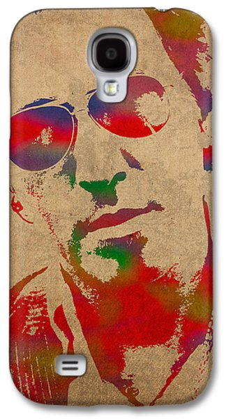 Bruce Springsteen Watercolor Portrait On Worn Distressed Canvas Galaxy S4 Case by Design Turnpike