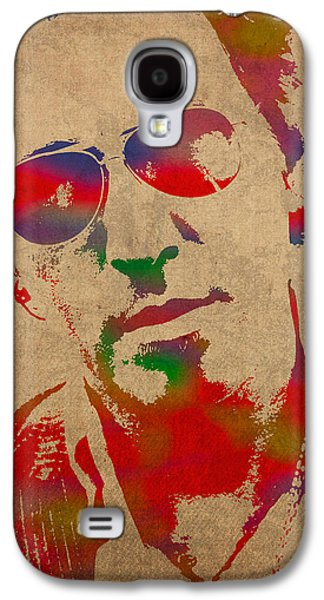 Musicians Galaxy S4 Case - Bruce Springsteen Watercolor Portrait On Worn Distressed Canvas by Design Turnpike