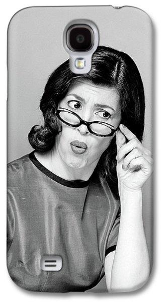 Brunette Woman Portrait Funny Face Galaxy S4 Case