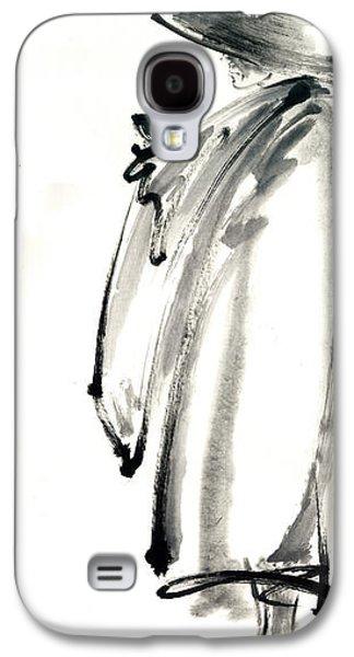 Buddhist Monk With A Bowl Zen Calligraphy Original Ink Painting Artwork Galaxy S4 Case by Mariusz Szmerdt