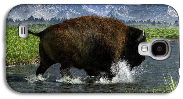 Buffalo Crossing A River Galaxy S4 Case by Daniel Eskridge