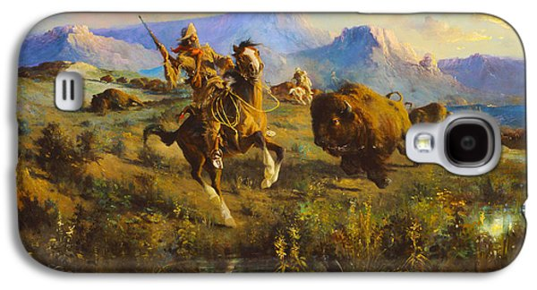 Buffalo Hunt Galaxy S4 Case by Edgar Samuel Paxson
